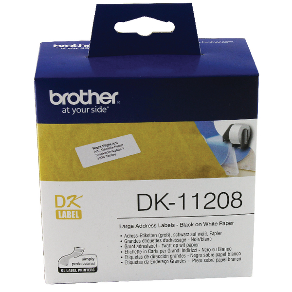 brother black on white paper large address labels 400 pack dk1
